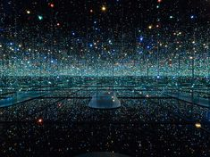 Yayoi Kusama, infinity mirrored room – the souls of millions of light years away, 2013 wood, metal, glass mirrors, plastic, acrylic panel, rubber, led lighting system, and acrylic balls 113 x 163 3/8 x 168 1/8 inches (287 x 415 x 427 cm) courtesy david zwirner and yayoi kusama studio inc. photo: maris hutchinson.