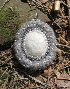 Hand Felted Medaillon Wereable Art Pendant Pearls by ukokprincess, $33.00