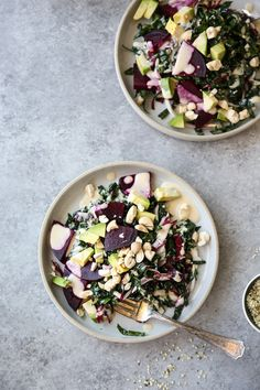 The Best Basic Bitch Kale Salad Recipe ♡ This truly is the best kale salad recipe out there with every element you could want: massaged raw kale, creamy avocado, colorful beets and nutty tahini dressing. It's so simple and easy you'll be making it every day. Also, #vegan and #healthy! | www.feedmephoebe.com