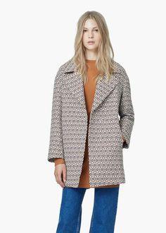 Mosaic cotton-blend coat -  Women | MANGO