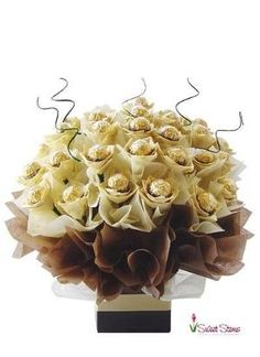 Sometimes you can say Thank You or I Love You with a bouquet like this one. How about a Ferrero Rocher Candy Bouquet instead of Flowers? All Chocolates are fresh when your order arrives. Ferrero Rocher Bouquet, Ferrero Rocher Chocolates, Gift Bouquet, Candy Bouquet, Chocolate Art, Chocolate Gifts, Chocolate Truffles, Fererro Rocher, Paper Flowers