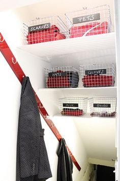 Turn a basement stairway into a storage space -- for those of us with no closets. by annabelle