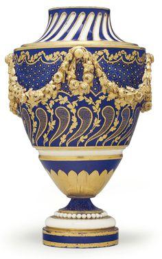 A SEVRES PORCELAIN BLEU NOUVEAU VASE (VASE 'FONTANIEUX A GUIRLANDES', 2EME GRANDEUR) CIRCA 1770, BLUE INTERLACED L'S MARK, GILDERS MARK FOR JEAN-PIERRE BOULANGER