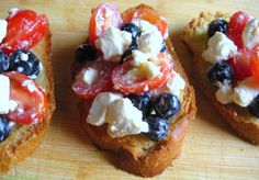 4th of July appetizer: Red, White, and Blue Bruschetta made with tomatoes, feta, and blueberries