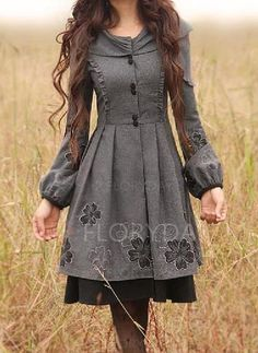 Coats & Jackets - $57.99 - Wool & Wool Blend Dark Gray Long Long Sleeve Round Neck Coats & Jackets (1715123320)