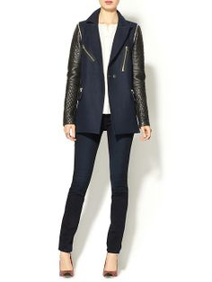 Rebecca Taylor Leather Sleeved Coat | Piperlime