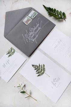 Fern botanical wedding invitations