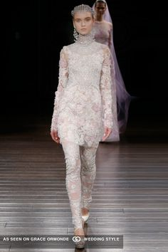 naeem khan 2017 spring bridal couture embroidered long sleeve jeweled tunic trendy matching legging jeweled headpiece