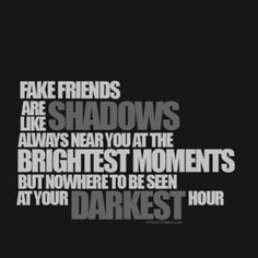 maybe it's just me, but i have had more than my share of fake friends.