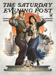 Bioshock Infinite parody newspaper featuring protagonist Booker and his companion Elizabeth