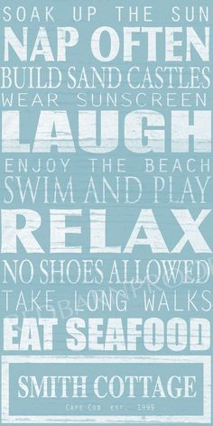 BEACH Sign Cottage Rules Canvas Personalized …  ...
