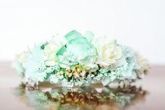 Flower Crown in Mint - Flowergirl hairpiece - Mint Green Wedding - Newborn Photo Prop - Wedding Crown - Floral Hairpiece by LittleLadyAccessory on Etsy
