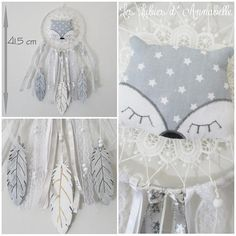 Dream catcher ribbons for child and baby with Wolf and feather wood – Quarto Bebe Mobiles, Wooden Feather, Boho Chic, Shabby Chic, Wolf, Baby Presents, Boy Baptism, Idee Diy, Baby Boy Rooms