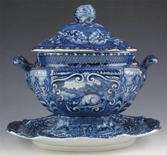 *RARE* J.HALL DARK BLUE STAFFORDSHIRE QUADRUPEDS SAUCE TUREEN, 1825