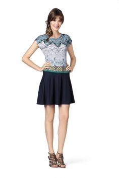 Keke-Kleid bedrucktes Kleid mit Ethno-Muster von MODEE