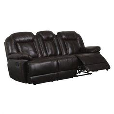 Global Furniture USA Faux Leather Reclining Sofa in Brown
