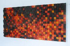"Wood Wall Art, ""Fire"" modern wood art, new 2018 designs, wooden sound diffuser, wood sound diffusor - Woodworking Art Wooden Wall Art, Wooden Walls, Wall Wood, 2017 Design, Block Wall, Red Art, Wood Pieces, Wood Blocks, Wood Design"