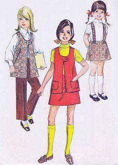 1960s Fashion, Vintage Fashion, Pretty Girls Names, Girls In Suspenders, 70s Outfits, Retro Girls, Suspender Skirt, Vest Pattern, Simplicity Patterns