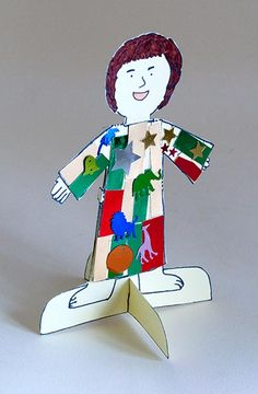 Joseph & His Coat of Many Colours - Stand-up figure. Cute craft for young children.