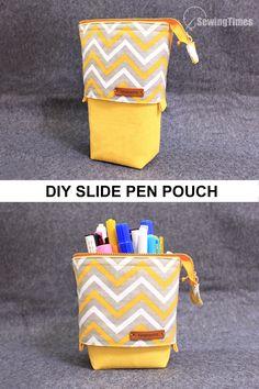 Diy Pouch No Zipper, Zipper Pencil Case, Diy Pencil Case, Sewing Pencil Cases, Zippered Pouch Tutorial, Zipper Tutorial, Sewing Case, Pencil Case Pattern, Pencil Case Tutorial