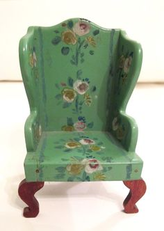 TynieToy Dollhouse Hand painted Wing Chair | eBay