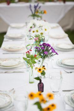 #tablescapes, #posies  Photography: Heather Cook Elliott Photography - HeatherCookElliott.com Floral Design: Avant Garden - theavantgarden.com  Read More: http://stylemepretty.com/2013/01/16/wisconsin-backyard-wedding-from-heather-cook-elliott/