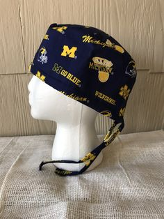 bcb6c887013 University of Michigan Scrub Cap - Logos on Blue - Surgery Cap - Scrub Hat -