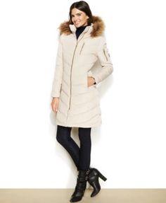 Calvin Klein Faux-Fur-Trimmed Hooded Down Coat - $109