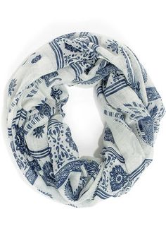 blue and cream print infinity scarf / lulu's