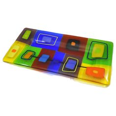Large Fused Glass Platter with Bright Blocks of Yellow, Orange, Blue and Green - Handmade by ResetarGlassArt