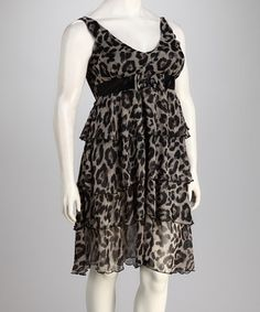 Take a look at this C.O.C. Black Leopard Plus-Size Tier Sleeveless Dress by C.O.C. on #zulily today!