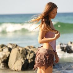 Our Frayed Pixie Skirt and Fairy Top looking beautiful by the ocean worn by Tamara. Tribal Clothing, Rave Clothing, Hippie Clothing, Festival Clothing, Bohemian Outfit, Tribal Outfit, Hippie Outfits, Rave Outfits, Festival Skirts