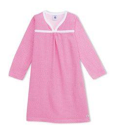 Chemise de nuit fille à imprimé graphique blanc Ecume / rose Geisha - Petit Bateau