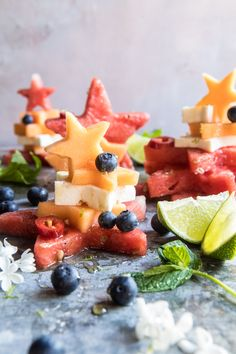 Blueberry, Melon, Feta, Fruit Salad Stacks: the perfect EASY salad for all your summer needs, plus fast, easy, healthy & delicious! @halfbakedharvest.com