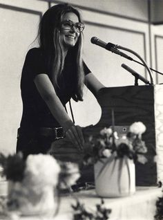 Gloria Steinham speaking at a luncheon for peace in New York, 1973