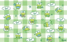 Get free exclusive Keroppi goodies. Super fun emoticons, wallpaper, papercrafts and more. Sanrio Wallpaper, Frog Wallpaper, Hello Kitty Wallpaper, Computer Wallpaper, Vogue Wallpaper, Peach Wallpaper, Cellphone Wallpaper, Walpapers Cute, Twitter Header Aesthetic