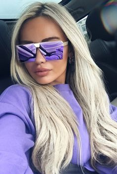 """Goldie flat top square sunglasses with gold frame and green or purple lenses. - Synthetic materials - 68mm/2.67"""" width - 50mm/1.96"""" height - 100% UV protection"""