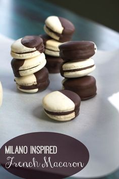 Black  White French Macarons #chocolate