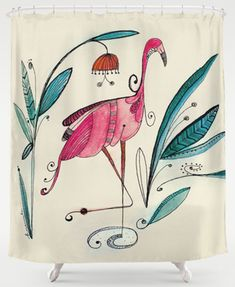 flamingo shower curtain                                                                                                                                                                                 More