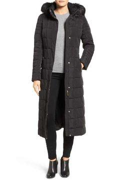 Calvin Klein Long Down & Feather Fill Coat with Detachable Faux Fur Trim Hood