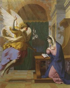The Annunciation, 1650, by Eustache Le Sueur , French, 1616-1655. H: 61 1/2 in. (156.2 cm); W: 49 1/2 in. (125.7 cm), oil on canvas. Toledo Museum of Art.