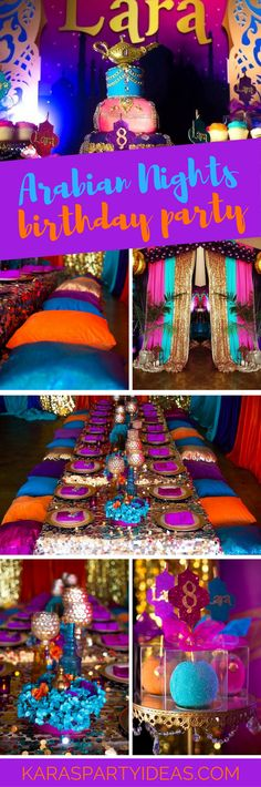 Nights Birthday Party Arabian Nights Birthday Party via Kara's Party Ideas - Arabian Nights Birthday Party via Kara's Party Ideas - Morrocan Theme Party, Moroccan Party, Moroccan Theme, Aladdin Birthday Party, Aladdin Party, Birthday Party Outfits, Birthday Ideas, 16th Birthday, Arabian Party