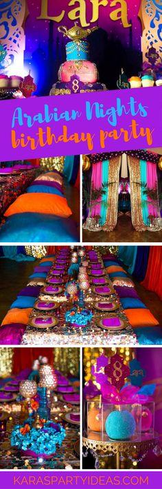 Nights Birthday Party Arabian Nights Birthday Party via Kara's Party Ideas - Arabian Nights Birthday Party via Kara's Party Ideas - Morrocan Theme Party, Moroccan Party, Moroccan Theme, Arabian Theme, Arabian Party, Arabian Nights Party, Aladdin Birthday Party, Aladdin Party, Birthday Party Outfits