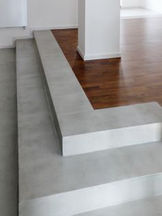 material mix #microtopping and wood #parquet - steps detail #concrete effect http://www.idealwork.com/Micro-Topping-Features-and-benefits.html