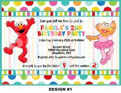 Elmo and Zoe Invitation - Sesame Street