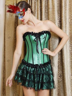 Green Sexy Womens Corset Set - Bustiers & Corsets - Women's Clothing