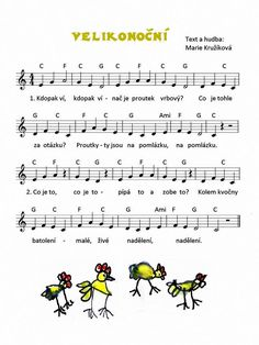 Velikonoční Song Sheet, Sheet Music, Music Do, Piano Music, Kids Songs, Music Lessons, 4 Kids, Activities For Kids, Language