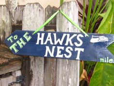 SUPERBOWL CHAMPIONS SEAHAWKS-Seattle Hawk's Nest Directional Arrow with Mileage from Your House to The Hawk's Nest
