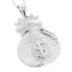 14K Gold Diamond Money Bag Pendant HipHop 6.50ct