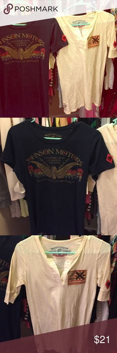 JOHNSON motors Vintage Californian clothes Very cute and vintage looking style tshirt and longer sleeve tshirt with buttons down the front ! They are a very soft cotton material can match and look cute with anything from jeans leggings to a skirt or shorts very soft comfortable feel to them! Love the designs on the Front and Back!! If you like the vintage look these are for you ! Offers welcome through offer button bundle and save! PINK Victoria's Secret Tops Tees - Short Sleeve